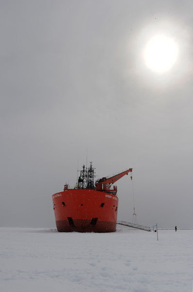 The Aurora Australis is wedged in fast ice in Commonwealth Bay 20 kilometres from Mawson's Hut in Antarctica