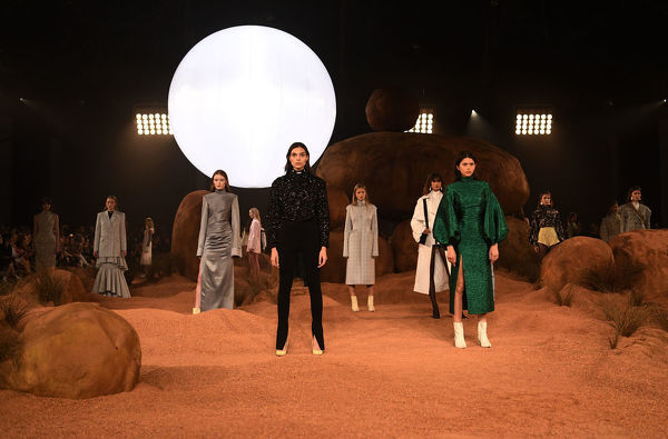 Models wear creations by Camilla and Marc during the Mercedes-Benz Fashion Week Australia in Sydney, Sunday, May 13, 2018. (AAP Image/David Moir), EDITORIAL USE ONLY