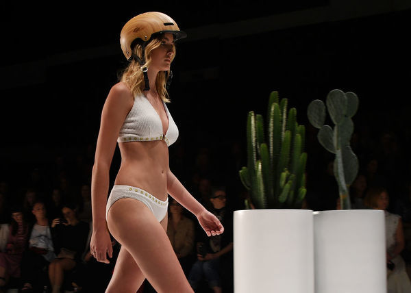 A model wears a creation by Duskii during the Swim show during the Mercedes-Benz Fashion Week Australia in Sydney, Monday, May 14, 2018. (AAP Image/David Moir), EDITORIAL USE ONLY