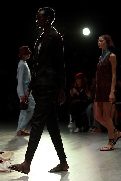 Models walk the runway wearing creations by Albus Lumen during Mercedes-Benz Fashion Week Australia in Sydney, Monday, May 14, 2018. (AAP Image/Dan Himbrechts), EDITORIAL USE ONLY