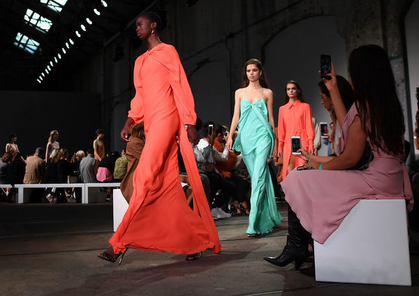 Models wear creations by Bianca Spender during the Mercedes-Benz Fashion Week Australia in Sydney, Monday, May 14, 2018. (AAP Image/David Moir), EDITORIAL USE ONLY