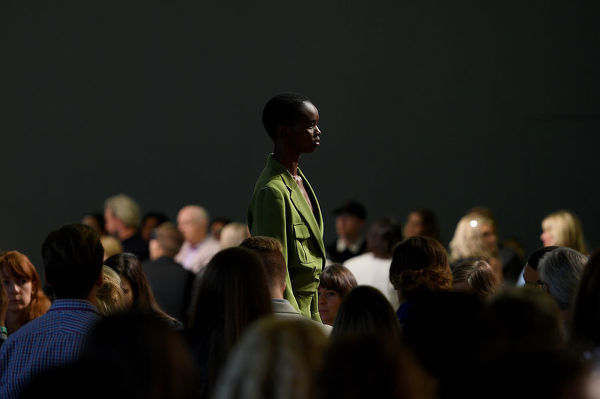 A model walks the runway wearing creations by Bianca Spender during Mercedes-Benz Fashion Week Australia in Sydney, Monday, May 14, 2018. (AAP Image/Dan Himbrechts), EDITORIAL USE ONLY