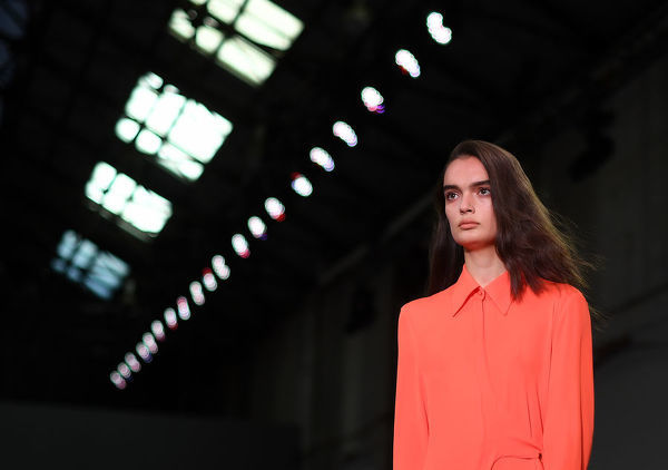 A model wears a creation by Bianca Spender during the Mercedes-Benz Fashion Week Australia in Sydney, Monday, May 14, 2018. (AAP Image/David Moir), EDITORIAL USE ONLY