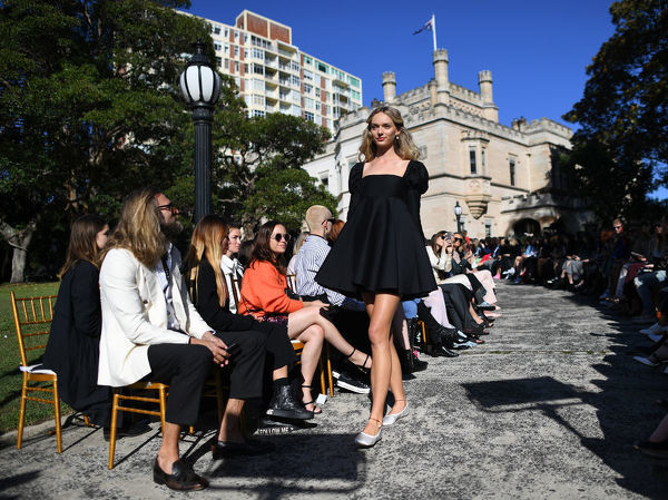 A model wears a creation by MacGraw during the Mercedes-Benz Fashion Week Australia in Sydney, Tuesday, May 15, 2018. (AAP Image/David Moir), EDITORIAL USE ONLY