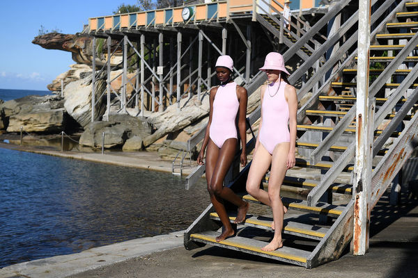 Models showcase designs by Matches.com x Emilia Wickstead at Wylies Baths during Mercedes-Benz Fashion Week Australia in Sydney, Tuesday, May 15, 2018. (AAP Image/Dan Himbrechts), EDITORIAL USE ONLY