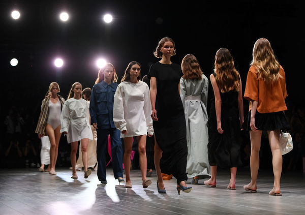 Models wear creations by Pereira Fitzgerald during the Mercedes-Benz Fashion Week Australia in Sydney, Tuesday, May 15, 2018. (AAP Image/David Moir), EDITORIAL USE ONLY