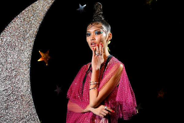 A model showcases creations by Romance Was Born during Mercedes-Benz Fashion Week Australia in Sydney, Tuesday, May 15, 2018. (AAP Image/Dan Himbrechts), EDITORIAL USE ONLY