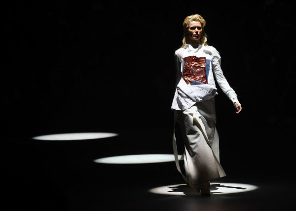 A model wears a creation during the St.George Nextgen show during the Mercedes-Benz Fashion Week Australia in Sydney, Wednesday, May 16, 2018. (AAP Image/David Moir), EDITORIAL USE ONLY
