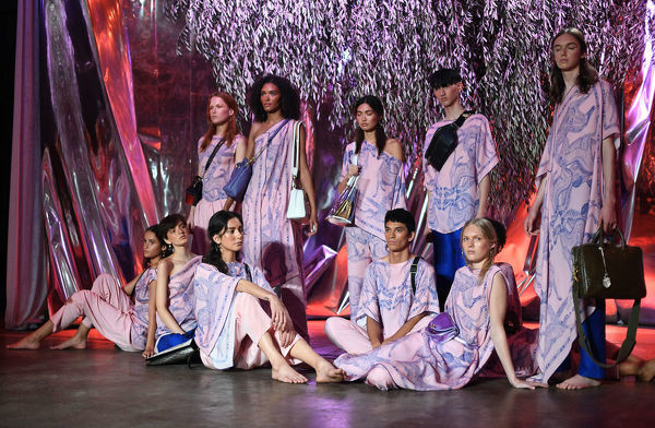 Models wear and pose with creations by Deadly Ponies during the Mercedes-Benz Fashion Week Australia in Sydney, Wednesday, May 16, 2018. (AAP Image/David Moir), EDITORIAL USE ONLY