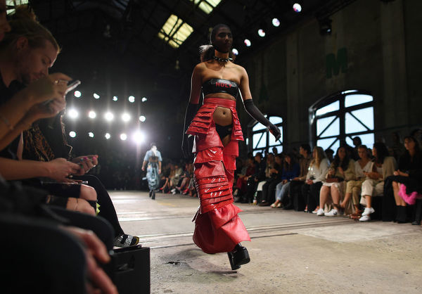 A model wears a creation by Dana Lock during the FDS: The Innovators show the Mercedes-Benz Fashion Week Australia in Sydney, Wednesday, May 16, 2018. (AAP Image/David Moir), EDITORIAL USE ONLY