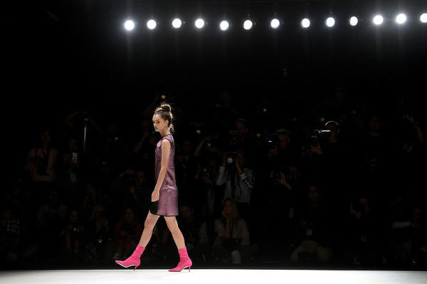 A model walks the runway wearing creations by Ingrid.Husodo during the Raffles International Showcase during Mercedes-Benz Fashion Week Australia in Sydney, Wednesday, May 16, 2018. (AAP Image/Dan Himbrechts), EDITORIAL USE ONLY