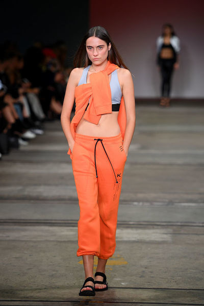A model walks the runway wearing creations by KORAL during the Active show at Mercedes-Benz Fashion Week Australia in Sydney, Thursday, May 17, 2018. (AAP Image/Dan Himbrechts), EDITORIAL USE ONLY