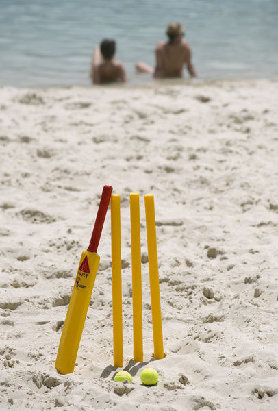 A beach cricket set on the beach in Brisbane
