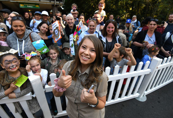 Bindi Irwin takes poses for a photo with fans as she celebrates her 20th birthday at Australia Zoo in Beerwah, Queensland, Tuesday, July 24, 2018. (AAP Image/Dan Peled)