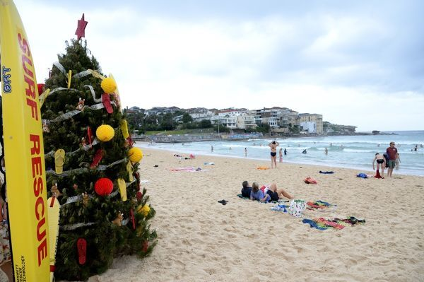The Christmas tree erected by North Bondi Surf Life Saving Club volunteers is seen on Bondi beach in Sydney