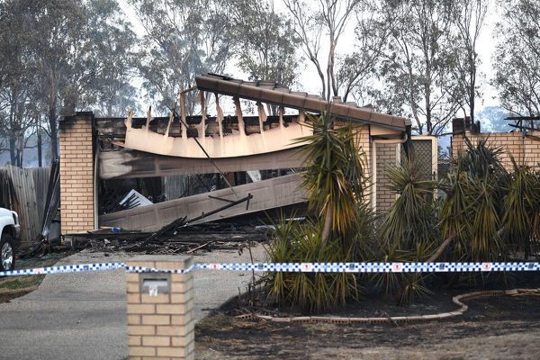 A house has been burnt down by bushfires in Laidley, southeast Queensland, Wednesday, October 9, 2019