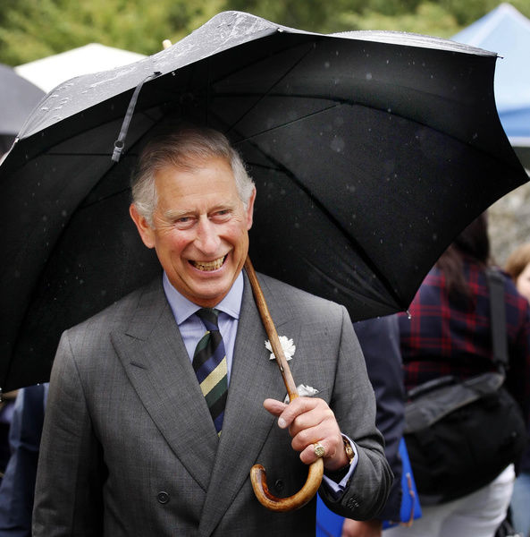 Prince Charles, known as the Duke of Rothesay in Scotland, during a visit to the the Storehouse of Foulis farmers' market in Evanton, Scotland