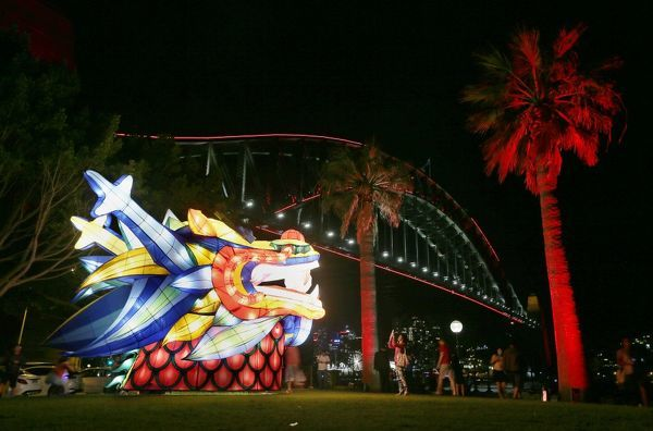 The Harbour Bridge is lit up with red lights to celebrate and launch the 2016 Chinese New Year in Sydney