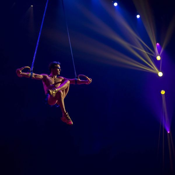 Performer Olli Torkkel prepares for the Perth season of Cirque du Soleil's Totem at the Belmont Racecourse Big Top in Perth