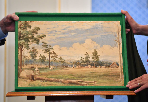 The 180 year-old painting by Colonel William Light at the Adelaide Town Hall in Adelaide, Monday, September 9, 2019. A 180-year-old painting by Colonel William Light, the man who picked the location for Adelaide and planned its streets and parks