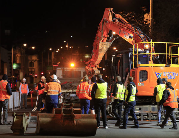 Hobart's Macquarie St is excavated to encase artist Mike Parr during Tasmania's Dark Mofo festival in Hobart, Thursday, June 14, 2018. (AAP Image/Rob Blakers), EDITORIAL USE ONLY