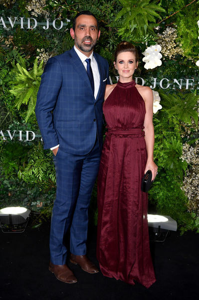 Former Sydney Swans AFL footballer Adam Goodes and wife Natalie Croker arrive at the David Jones Spring Summer 2018 Collections Launch, in Sydney, Wednesday, August 8, 2018. (AAP Image/Joel Carrett)