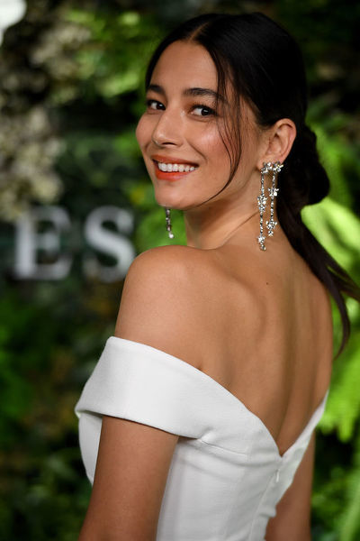 Australian model Jessica Gomes arrives at the David Jones Spring Summer 2018 Collections Launch, in Sydney, Wednesday, August 8, 2018. (AAP Image/Joel Carrett)