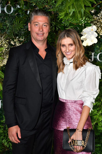Luke Ricketson (left) and Kate Waterhouse arrive at the David Jones Spring Summer 2018 Collections Launch, in Sydney, Wednesday, August 8, 2018. (AAP Image/Joel Carrett)