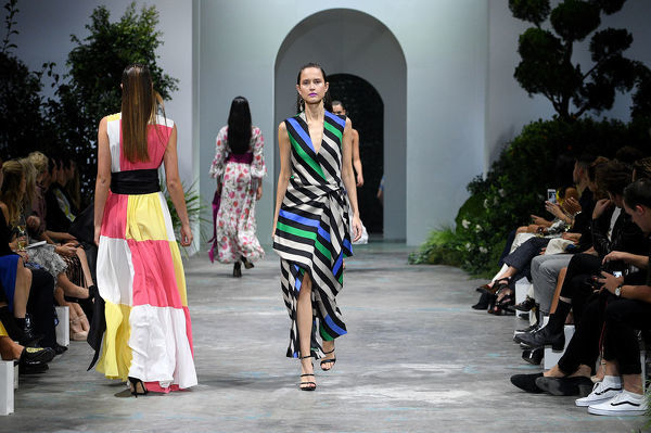 Models walk the runway during the David Jones Spring Summer 2018 Collections Launch, in Sydney, Wednesday, August 8, 2018. (AAP Image/Dan Himbrechts)