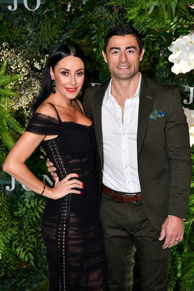 **FILE** Terry Biviano and Anthony Minichiello arrive at the David Jones Spring Summer 2018 Collections Launch, in Sydney, Wednesday, August 8, 2018. (AAP Image/Joel Carrett)