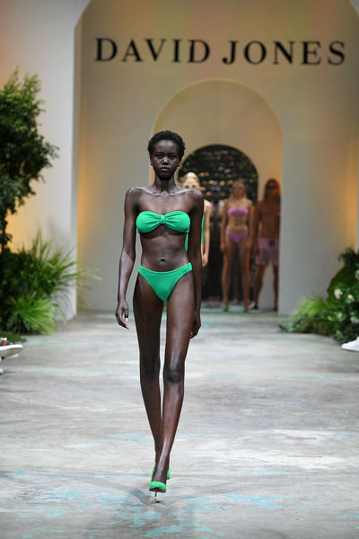 Australian model Adut Akech walks the runway during the David Jones Spring Summer 2018 Collections Launch rehearsal, in Sydney, Wednesday, August 8, 2018. (AAP Image/Dan Himbrechts)