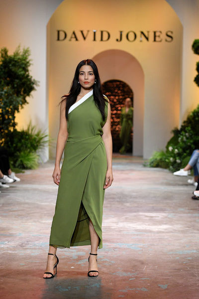 Australian model Jessica Gomes walks the runway during the David Jones Spring Summer 2018 Collections Launch rehearsal, in Sydney, Wednesday, August 8, 2018. (AAP Image/Dan Himbrechts)