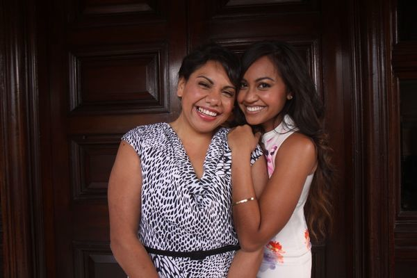 Deborah Mailman (left) and Jessica Mauboy pose for photographs at a photo call for the new movie, 'The Sapphires', Sydney
