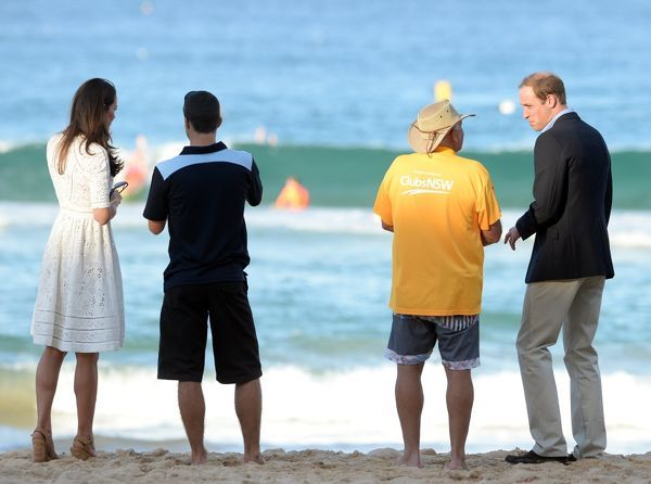 The Duke and Duchess of Cambridge, Prince William and Catherine, visit Manly beach to view a surf lifesaving demonstration and meet competitors, in Sydney