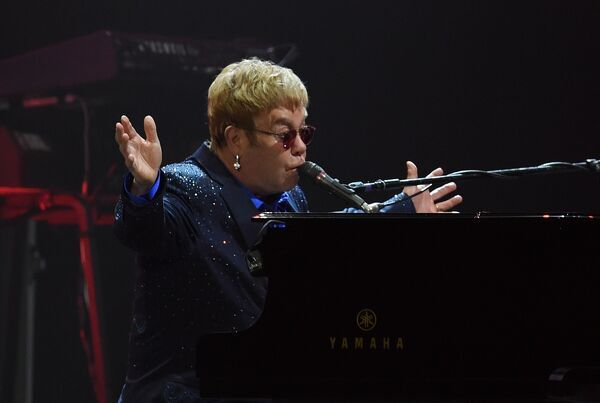 British singer-songwriter Elton John performs in Brisbane, Tuesday, Dec. 8, 2015