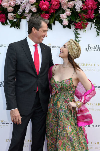 Former Australian Cricketer and Founder of the McGrath Foundation Glenn McGrath and wife Sara Leonardi pose for a photograph during the inaugural Everest Carnival Fashion Lunch at Royal Randwick Racecourse in Sydney, Thursday, October 10, 2019