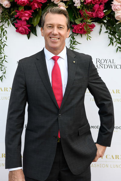 Former Australian Cricketer and Founder of the McGrath Foundation Glenn McGrath poses for a photograph during the inaugural Everest Carnival Fashion Lunch at Royal Randwick Racecourse in Sydney, Thursday, October 10, 2019