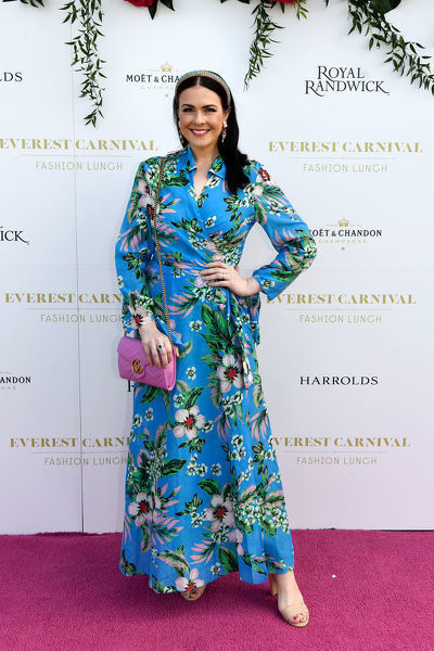 Milliner Viktoria Novak poses for a photograph during the inaugural Everest Carnival Fashion Lunch at Royal Randwick Racecourse in Sydney, Thursday, October 10, 2019. (AAP Image/Bianca De Marchi) NO ARCHIVING