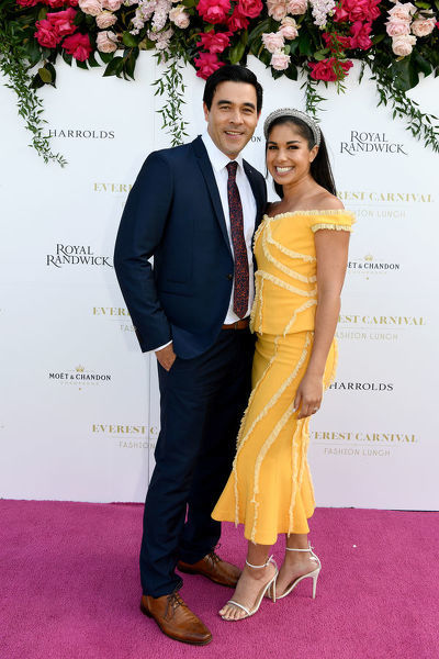 Channel Seven's Home And Away stars and Everest Carnival 2019 Ambassadors James Stewart and Sarah Roberts pose for a photograph during the inaugural Everest Carnival Fashion Lunch at Royal Randwick Racecourse in Sydney, Thursday, October 10, 2019
