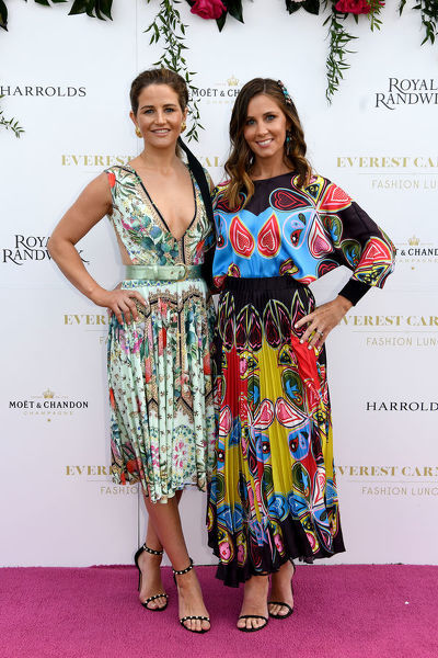 Jockey Michelle Payne and Cathy McEvoy, wife of champion Jockey Kerrin McEvoy, pose for a photograph during the inaugural Everest Carnival Fashion Lunch at Royal Randwick Racecourse in Sydney, Thursday, October 10, 2019