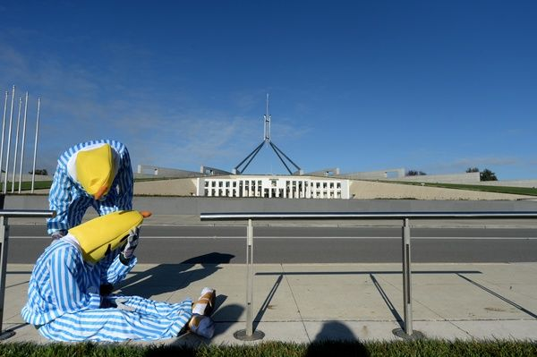 The ABC's Bananas in Pyjamas pose for a photograph outside Parliament House, Canberra