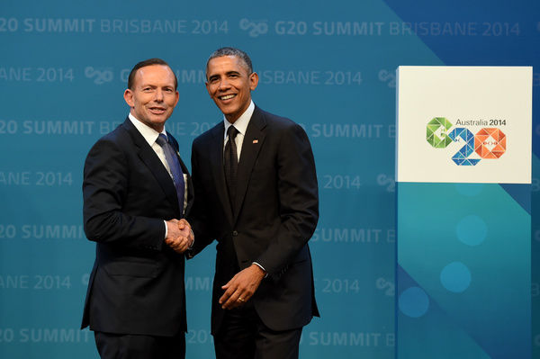 Australian Prime minister Tony Abbott (left) greets US President Barack Obama during the official welcome at the Brisbane Convention and Exhibitions Centre (BCEC) in Brisbane