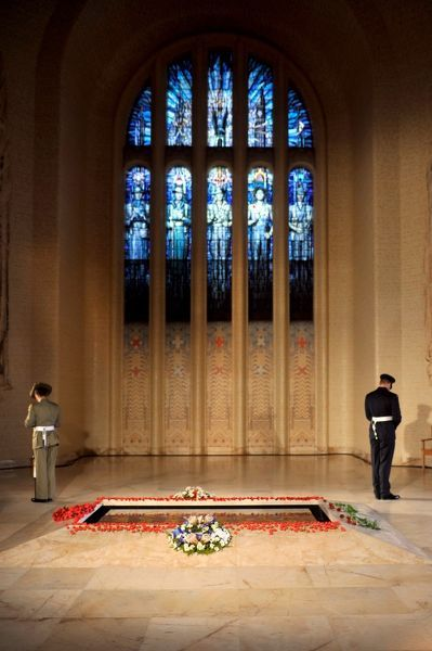The catafalque party guard the Tomb of the Unknown Soldier in the Hall of Memory at the Australian War Memorial during the national ANZAC Day service in Canberra