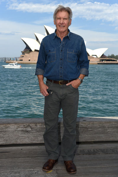 American actor Harrison Ford poses for a photograph in front of the Opera House in Sydney