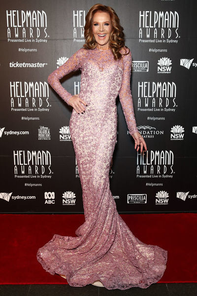 Rhonda Burchmore poses for a photograph on the red carpet of 18th annual Helpmann Awards Act II at the Capitol Theatre in Sydney, Monday, July 16, 2018. (AAP Image/Brendan Thorne)
