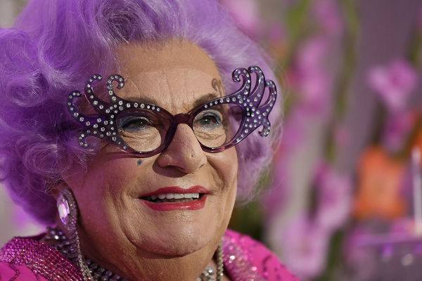 Dame Edna Everage speaks to the media during a High Tea event at The Langham in Sydney, Wednesday, September 11, 2019. Dame Edna Everage's new show, 'My Gorgeous Life', will tour Australia September through to December this year