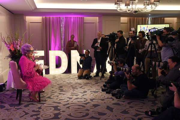 Dame Edna Everage speaks to the media during a High Tea event at The Langham in Sydney, Wednesday, September 11, 2019. Dame Edna Everage's new show, 'My Gorgeous Life?, will tour Australia September through to December this year