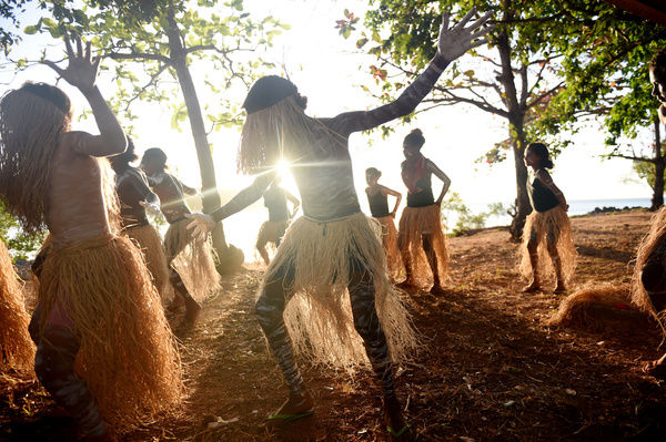 The Injinoo Dance Group rehearse before performing a welcome ceremony for Australian Prime Minister Tony Abbott on the Injinoo Foreshore, Bamaga in the Northern Peninsula area