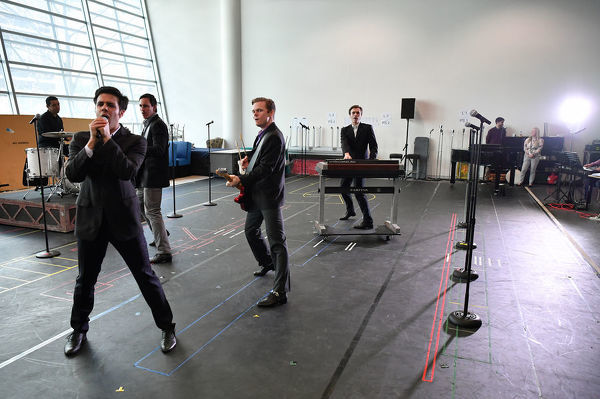 The cast of Jersey Boys during rehearsals at the ABC Rehearsal Studio in Sydney, Monday, July 23, 2018. (AAP Image/Joel Carrett)