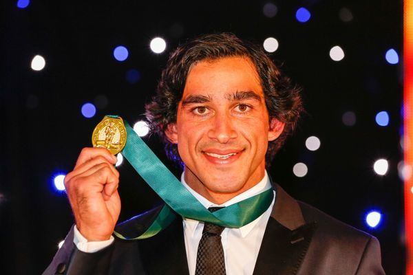 Johnathan Thurston with his 4th Dally M award at the North Queensland Cowboys celebration event for the Dally M awards in Townsville. (AAP Image/Michael Chambers)